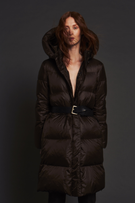LIS LAREIDA – WATER REPELLENT GOOSE DOWN COAT - LEATHER BELT
