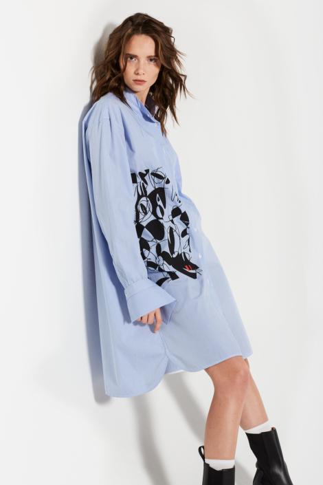 LIS LAREIDA – SCREEN PRINT ON STRIPE SHIRT DRESS